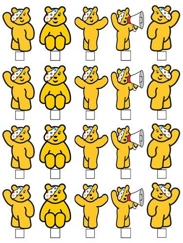20 PUDSEY BEAR CHILDREN IN NEED STAND UP EDIBLE WAFER PAPER CARD CUPCAKE TOPPERS
