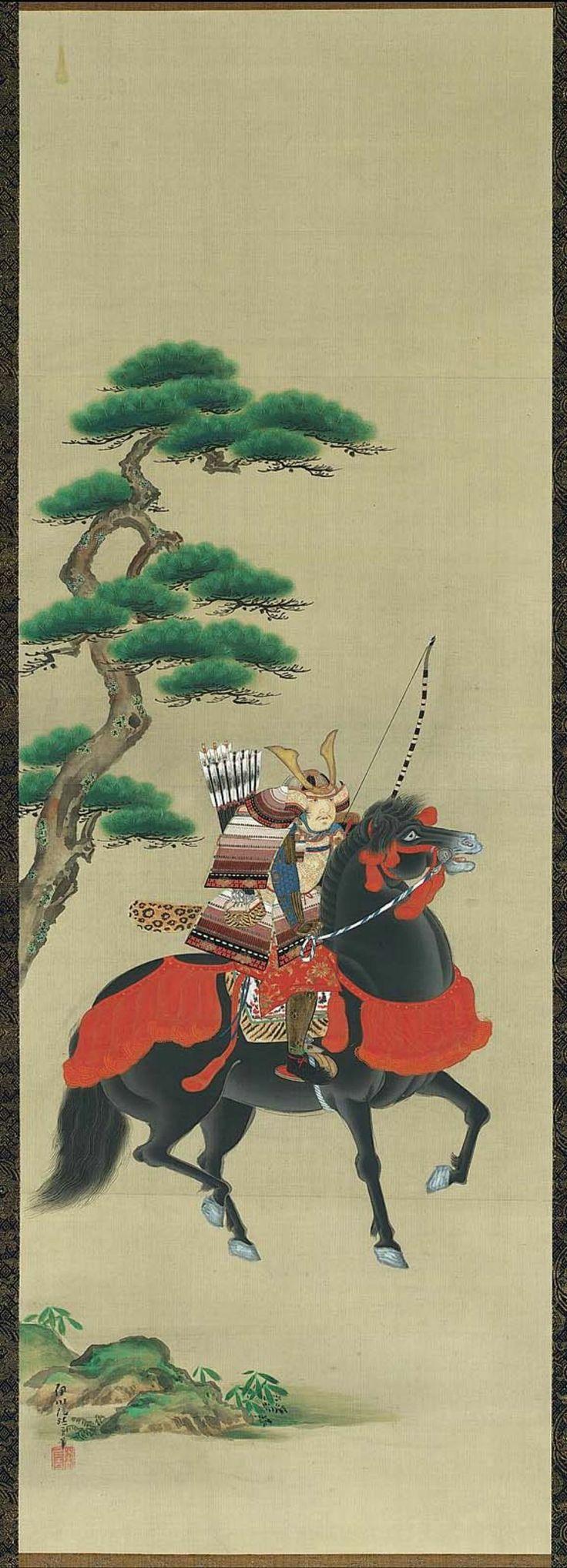 Minamoto no Yoshitsune on Horseback 源義経図 Japanese, Edo period, first half of the 19th century Kano Isen'in Naganobu, Japanese, 1775–1828