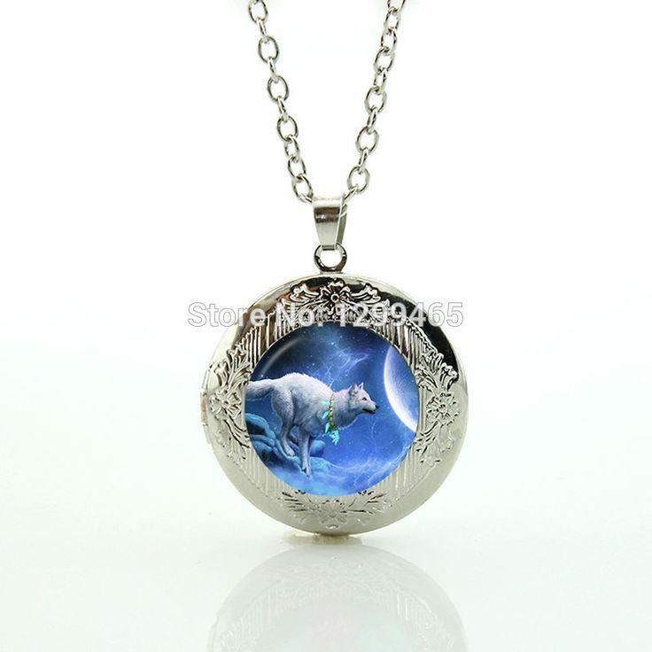 Сувениры творческий дар природы дикой природы животных полная луна ювелирные изделия Винтаж воющий волк и луна медальон кулон ювелирные изделия N 1013
