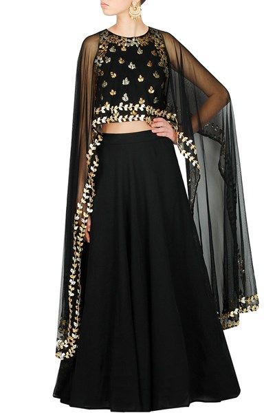 Lehengas , Clothing, Carma, Charcoal Black Gota Patti Lehenga Set
