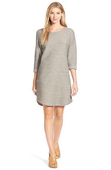 Caslon® Caslon® Roll Sleeve Textured Knit Shift Dress (Regular & Petite) available at #Nordstrom