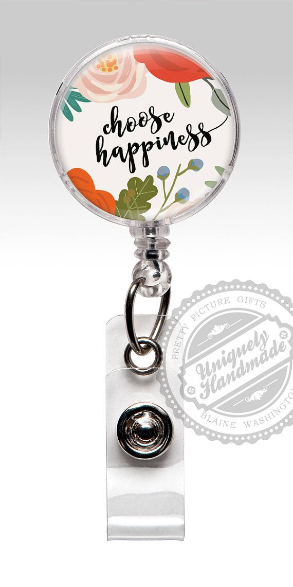 Badge Reel, Inspirational Words Happy Nurse Badge Holder, Retractable Badge Holder, Badge Clip, Lpn Rn Id Badge, Nursing Student Gift 489