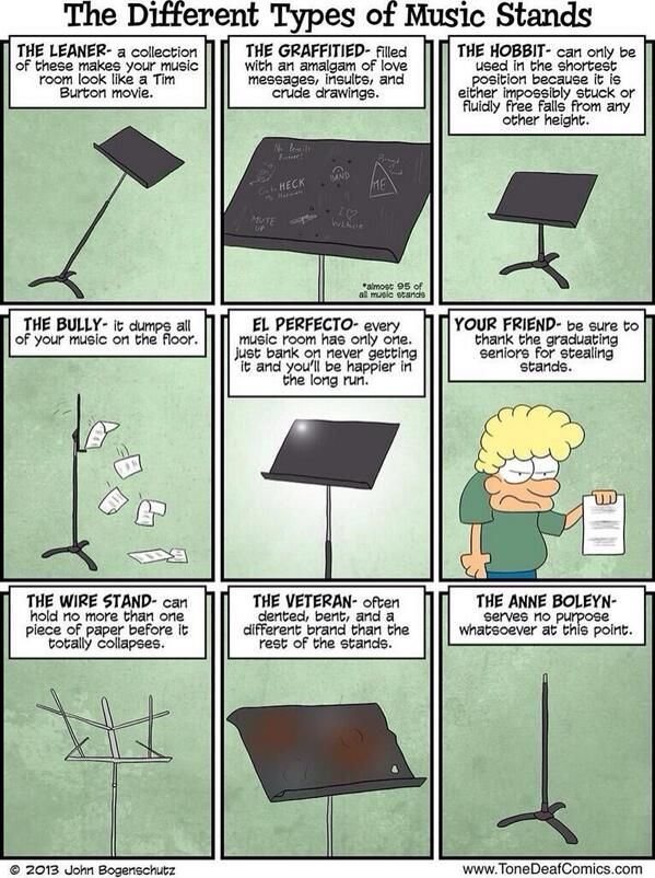 Different Types of Music Stands - I almost NEVER change my pin descriptions, but I have to say that on this pin I will. But only for the sole purpose of explaining that I have actually laughed out loud at this pin.