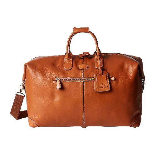 The Life Leather Duffel is part of the Bric's Milano Life Pelle Collection. ; This distinguished duffel is great for a quick weekend getaway. ; Gorgeous vegetable-tanned leather obtains a vintage appearance with age. ; Detachable leather shoulder strap adds versatility. ; Double leather carrying handles with a comfortable grip. ; Outside zipper pocket for fast access to documents. ; Spacious interior includes a side pocket to separate smaller items. ; Weight: 5 lb Measurements: ; Width: 22 1…