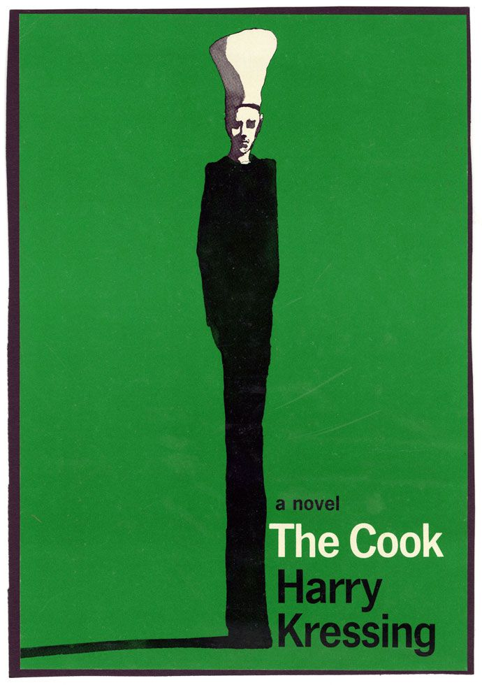 Milton Glaser created this 1965 book jacket for The Cook, a satirical horror novel about a mysterious chef, Conrad Venn, who seduces and manipulates the wealthy Hill and Vail families with food.:
