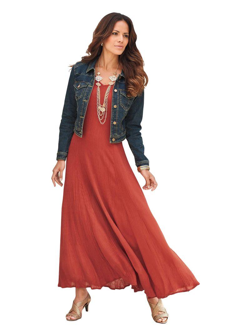 Crinkle Short Sleeve Maxi Dress | Plus Size Dresses | OneStopPlus