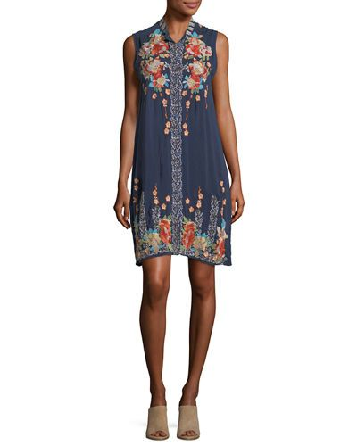 Basille Georgette Embroidered Tunic Dress Plus Size Blue Night