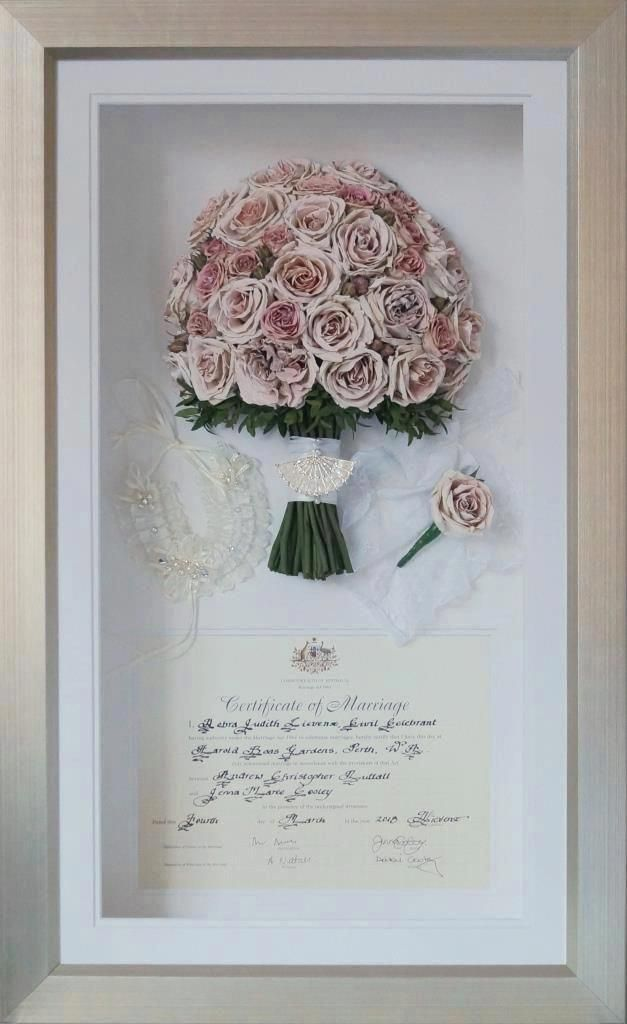 Pink And White Rose Preserved Wedding Bouquet Framed Bouquet