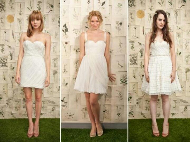 Ivy & Aster short wedding dresses.