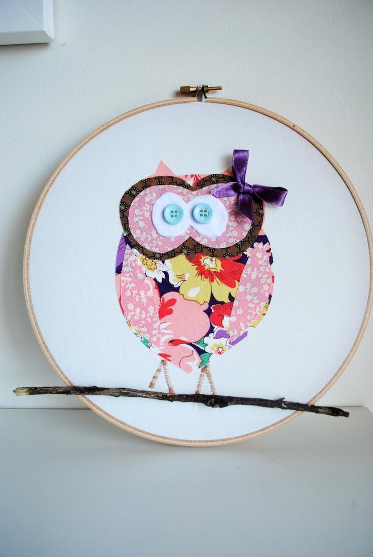 Owl crafts baby bedding nursery decor nursery crafts forward pink owl - Owl Nursery Wall Hanging Applique Owl On Embroidery Hoop