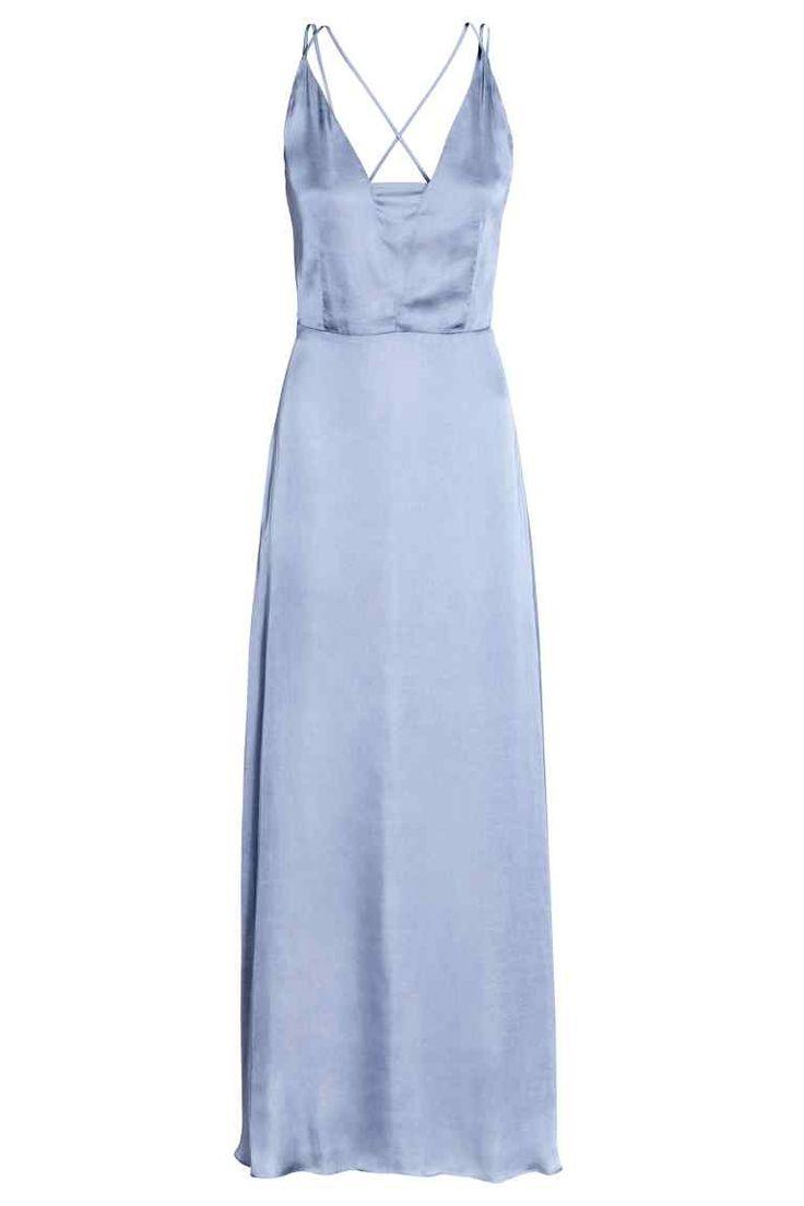 Длинное платье из шифона - Серо-голубой - Женщины   H&M RU