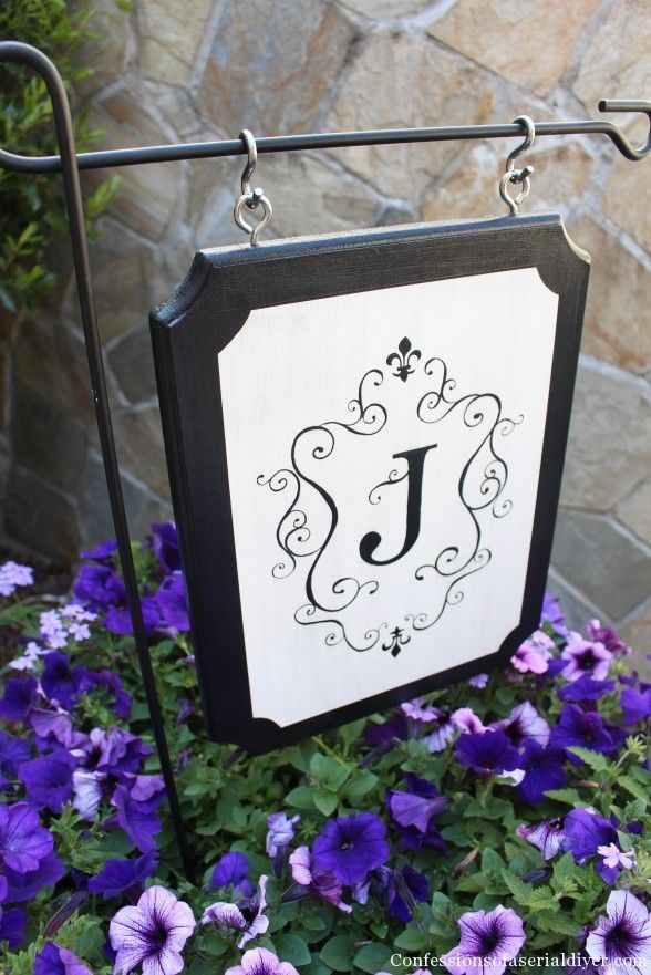 Monogrammed Outdoor Sign - i wonder if this would work with vinyl...