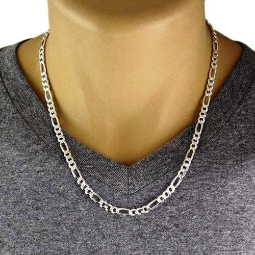 """Men's 925 Sterling Silver Figaro Chain Necklace 150 Gauge 6 mm - 22"""" - Italy #Chain"""