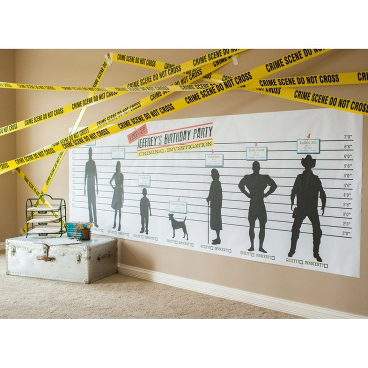 Detective Party Printable Criminal Lineup 42x125 Poster perfect for Spy or Detective Parties! Coloring poster and decor in one!