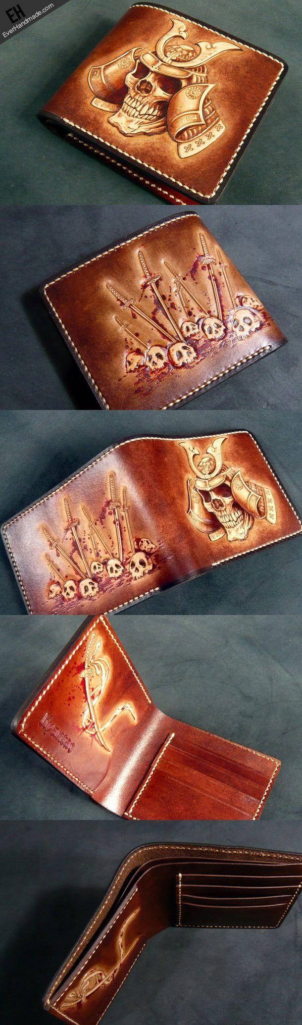 Handmade leather wallet men Japanese general Skull carved leather short wallet for him