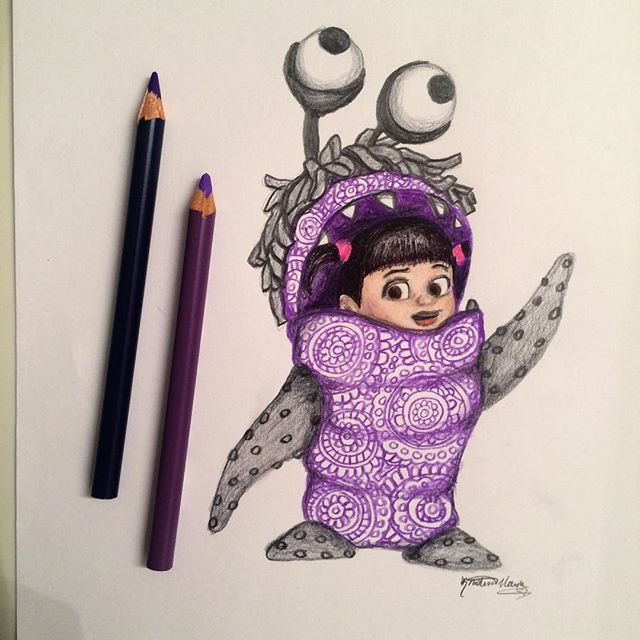 Boo !!  Now I really wanna watch Monsters Inc... Random thought: I'm thinking about writing and illustrating a children's book. I have a character in mind, but I'm having trouble finding a theme... Help!