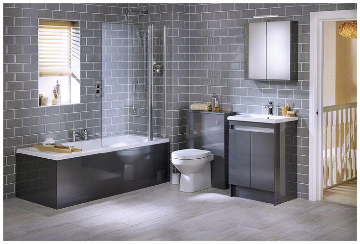 A smart family bathroom in toning shades of grey #qube #freestanding #bathroomfurniture #myutopia
