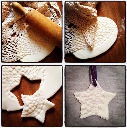 Texturized salt dough ornaments.