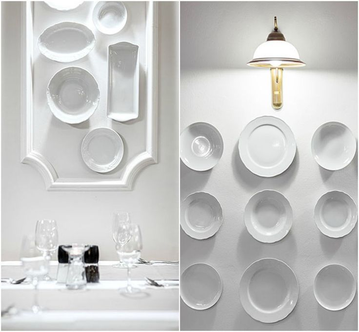 white plates on the wall