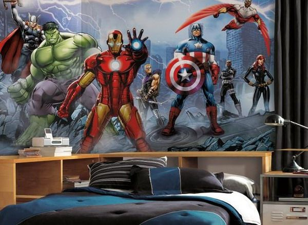 Cool marvel wall murals for contemporary kids bedroom for Avengers wall mural amazon