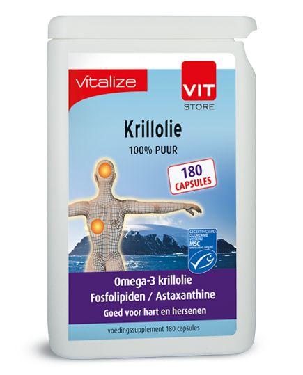 Krillolie 100% puur - 180 capsules brievenbusverpakking  Krillolie 100% puur Inhoud: 240 capsules Gebruik: 2 capsules per dag BESCHRIJVING VAN DE STOFFEN EPA en DHA dragen bij tot de normale werking van het hart. DHA draagt bij tot de instandhouding van de normale hersenfunctie en het normaal gezichtsvermogen.  Het gunstige effect wordt verkregen bij een dagelijkse inname van 250 mg EPA en DHA.  Het gunstige effect wordt verkregen bij een dagelijkse inname van 250 mg DHA. Fosfolipiden: De…