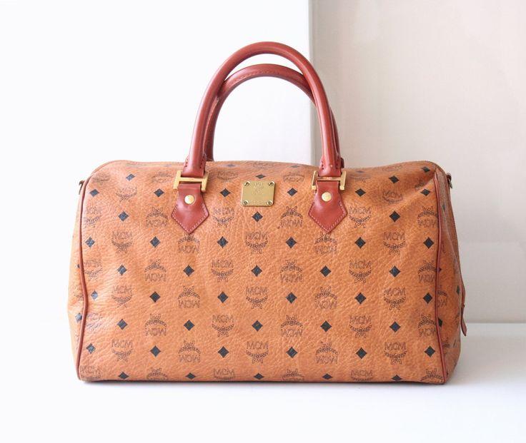 MCM handbag Visetos Cognac Monogram Brown Boston Large Tote Handbag by hfvin on…