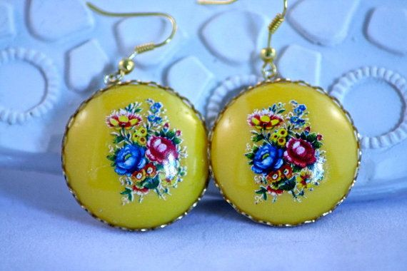 Buy Retro look dangle earrings,  round cabochon with flowers(yellow) by hoppydesigns. Explore more products on http://hoppydesigns.etsy.com