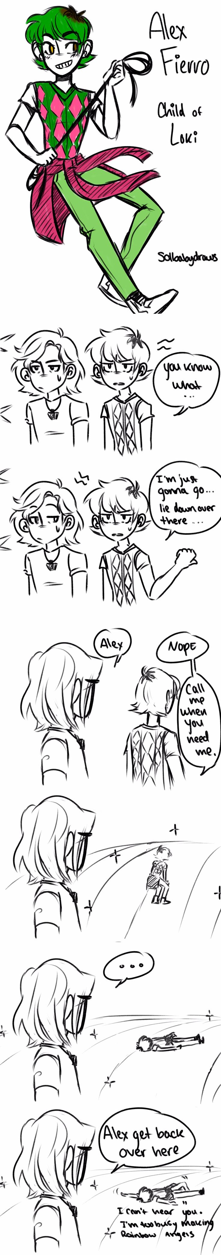 solbabydraws: There were a lot of great Alex moments, but my personal favorite is when Alex just randomly decided to nope the entire conversation on the rainbow bridge and just went to lay down on the ground like??? it was just so random and I loved every second of it. Alex's priorities are on point.