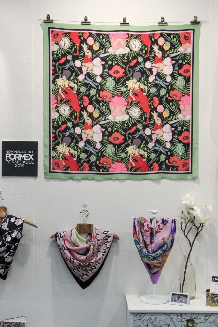 Lisa's gorgeous scarf is nominated to Formex Formidable 2014, congratulations! #nordicdesigncollective #nordic #design #formex #formex2014 #stockholm #stockholmsmassan #fair #designfair #formidable #formexformidable #nominee #formexformidable2014 #formexformidablenominee2014 #lisaedoff #lisaedoffdesign #silk #silkscarf #scarves #pattern #poodle #rabitt #poppy #cupcake #spoon #clock #woman #red #green #pink #black #red Epink Magnolia #circus