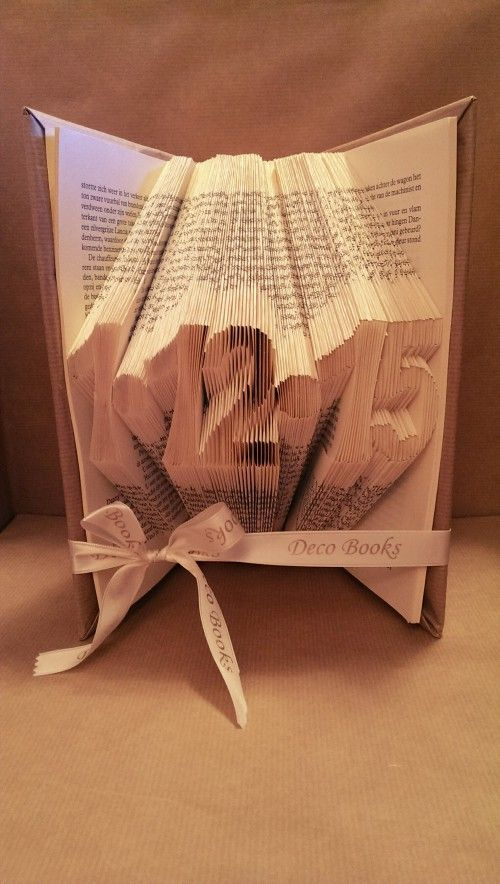 Book Fold date or year folded in a book.  Between the numbers, other punctuation symbols.  Great as a gift, wedding, anniversary etc. Facebook: Deco Books - Folding Art