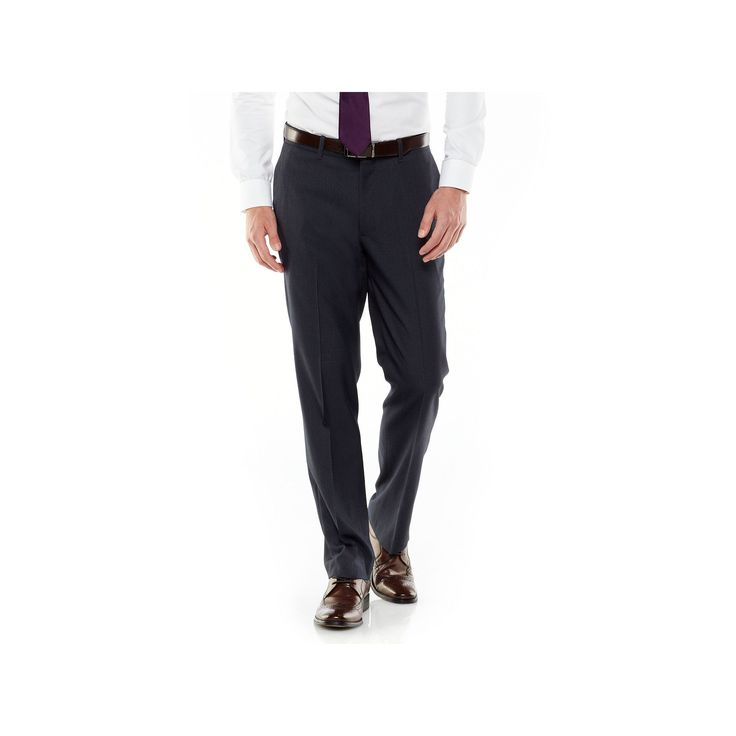 Men's Axist Ultra Series Straight-Fit Solid No-Iron Performance Flat-Front Dress Pants, Size: 40X30, Blue