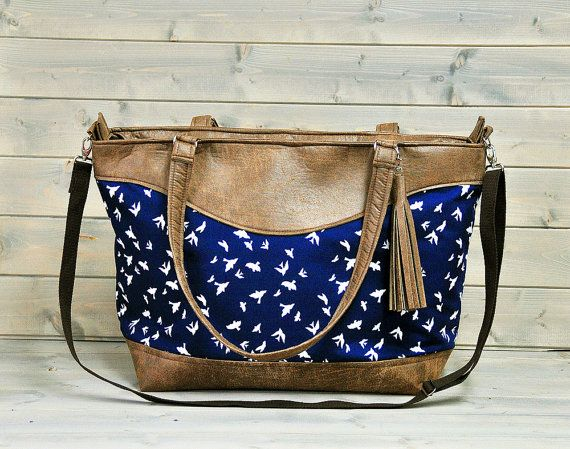 Large Ladies Brown Leather Tote Bag Weekend Shopping Tote Nappy Diaper Bag Over the Shoulder Cross Body Handbag Navy Blue Swallow Bird