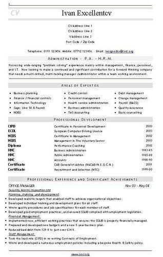 cv template admin officer resume templates professional cv ...