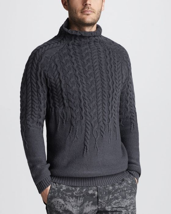 Just Cavalli | Gray Mockneck Cable Sweater for Men