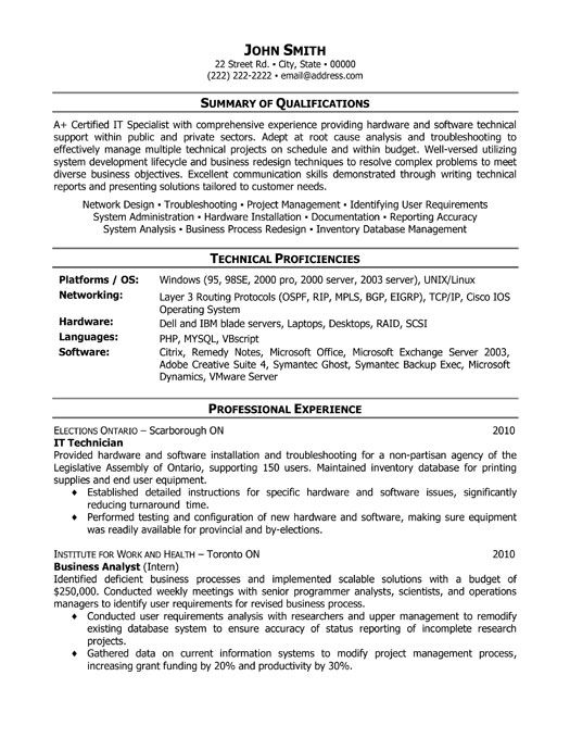 information technology resume format doc examples 2012 it technician template