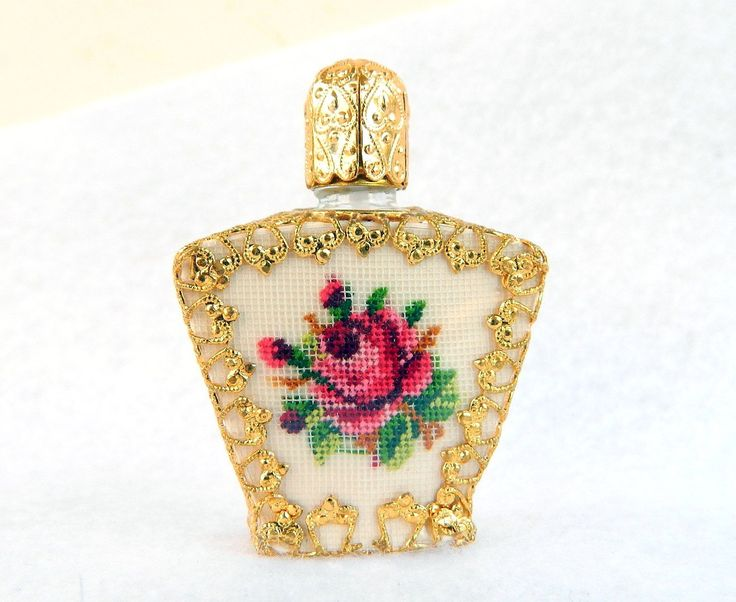 Vintage Gold Filigree & Rose Petit Point Perfume Bottle - Angular ...