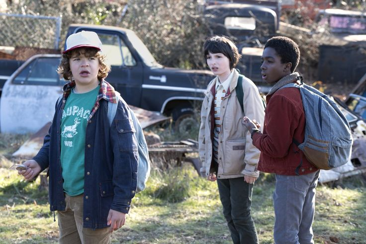 Gaten Matarazzo, Finn Wolfhard, and Caleb McLaughlin as Dustin Henderson, Mike Wheeler, and Lucas Sinclair in Stranger Things.