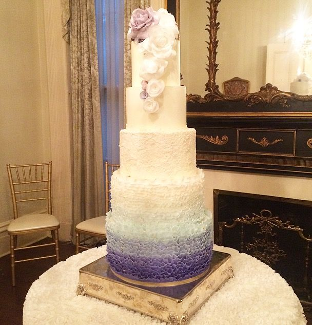 Savannah Georgia Wedding Cake. Brockington Hall. Purple. Fondant Frills.  Ruffles. Pearls