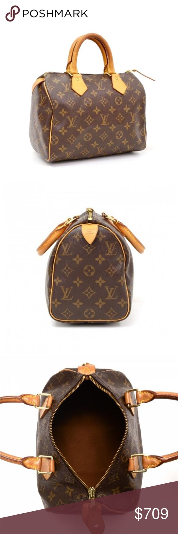 """✅Authentic 💞Louis Vuitton 💞Monogram Speedy 25 Authentic Louis Vuitton """"Speedy 25"""" bag in monogram canvas - An icon of our times, this city bag is ideal for the fast pace of modern life. It is a classic shape and style that can be so easy to match to outfits, extremely durable, making it the perfect bag for travel and everyday wear. Wherever you need to go, the Speedy 25 makes zipping around town a pleasure. It comes as a complete set accompanied by LV dust bag, retaining lock and key…"""