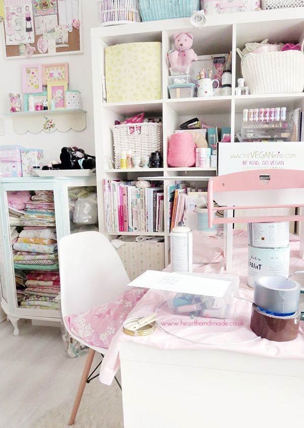 Work in progress in the craft room - My Pretty Pastel Home Decor on heart handmade uk. This is a little home office idea but the colours and furniture could be swapped out for the bedroom. I love the big Ikea Expedit shelving units. They hold so much!