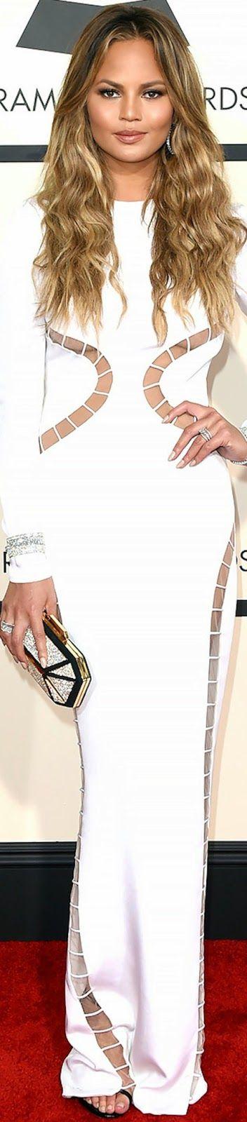 Chrissy Teigen 2015 Grammy Red Carpet Fashion