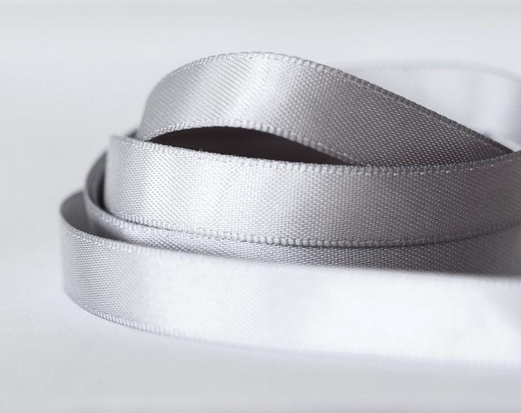 2057_10_Ribbon 10 mm, Silk ribbon, Silver ribbon, Ribbon for jewelry, Double faced ribbon, Gray ribbon, Ribbon double side, Grey satin band. by PurrrMurrr on Etsy
