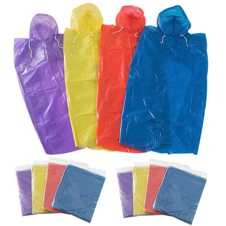 Faswin Rain Ponchos One Size Fit All with Hood for Adults - 12 Pack. Perfect for your emergency kit, camping, or any outdoor outing with family and friends, just keep in your pocket backpack car office in case of a rainy day. Lightweight ponchos, Compact easy storage, fits in you pocket or even in your wallet. 12 good quality ponchos, 4 Different colors. Emergency Poncho, Emergency Rain Gear, Weather Protection. One size fit all. Includes an attached hood for maximum protection.