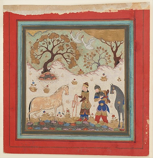"""""""Rustam Captures Rakhsh"""", Folio from a Shahnama (Book of Kings)  Abu'l Qasim Firdausi  (935–1020)    Object Name:      Folio from an illustrated manuscript  Date:      mid-15th century  Geography:      India  Medium:      Main support: Ink, opaque watercolor, gold on paper Margins: Ink and gold on dyed paper  Dimensions:      7.25 in. high 7.62 in. wide (18.4 cm high 19.4 cm wide)  Classification:      Codices"""