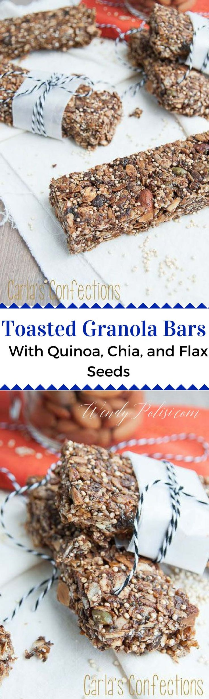 Toasted Granola Bars with Quinoa, Chia and Flax Seeds via @wendypolisi