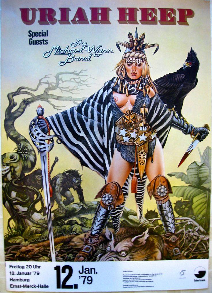 Rock and Roll Concert Posters | Uriah Heep Original Vintage Rock Roll German Concert Poster 1979