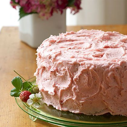 This three-layer strawberry cake gets its delicious flavor from chopped fresh strawberries and strawberry gelatin. Slather with the...