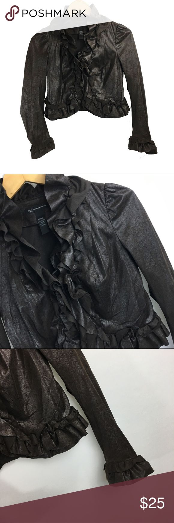 Inc brown ruffle size xsmall bolero blazer jacket **** IF YOU THINK OUR AFFORDABLE PRICES ARE TOO HIGH FOR YOU, MAKE A REASONABLE OFFER ON ANY OF THE ITEMS IN OUR STORE AND WE MAY ACCEPT IT****     - Size: xsmall  - Material: polyester  - Condition: EXCELLENT, like new  - Color: brown  - Pockets: n/a  - Lined: n/a - Closure: hooks  - Pair with:    *Measurements:   Bust:  WAIST: Length:  SLEEVE: Rise: Inseam:   * The more you buy the more you save. Feel free to ask any questions. Thank you…