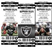 8 NFL Oakland Raiders Football Birthday Party Ticket Invitations