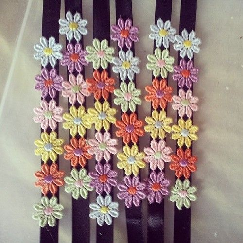 embroidered daisy on ribbon chokers £3